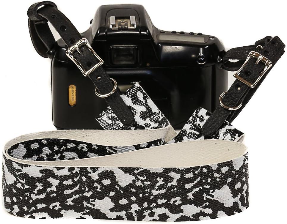 Gecko Print Genuine Leather Wide Camera Strap Buckle Adjustable SLR Binocular