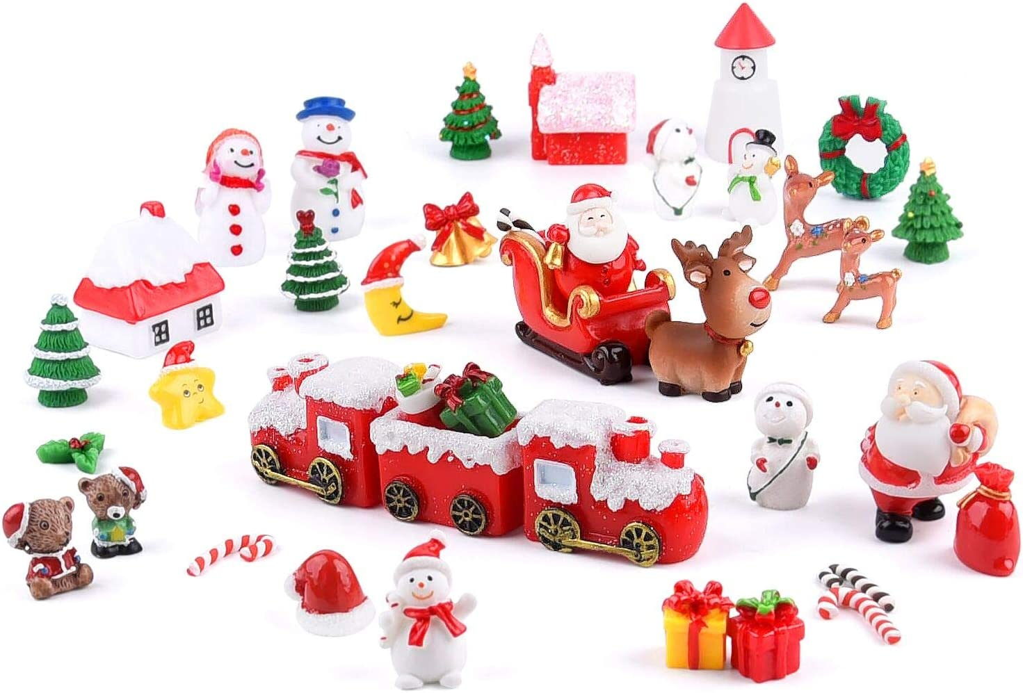 MIAHART 40Pcs Christmas Miniature Ornaments Mini Resin Micro Landscape Ornaments, Christmas Trees Santa Claus Snowman Wreath Bells for Christmas Party Supplies, Fairy Garden Christmas Accessories