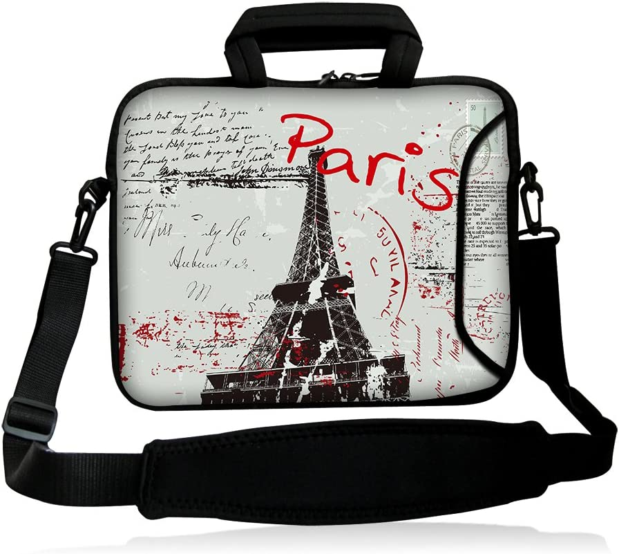 "iColor 15"" Laptop Bag Case Sleeve 14.1"" 14.2"" 15.6"" Inch Neoprene Laptop Shoulder Messenger Bag 15.4"" Notebook Computer Dual Zipper Case Cover Pouch Holder Pocket-Paris"