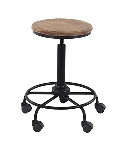 Amazoncom Deco 79 Industrial Wood And Metal Bar Stool With Wheels