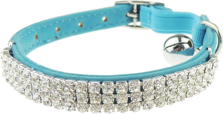 Adorable collar de gato con cristales y cadena el/ástica de seguridad