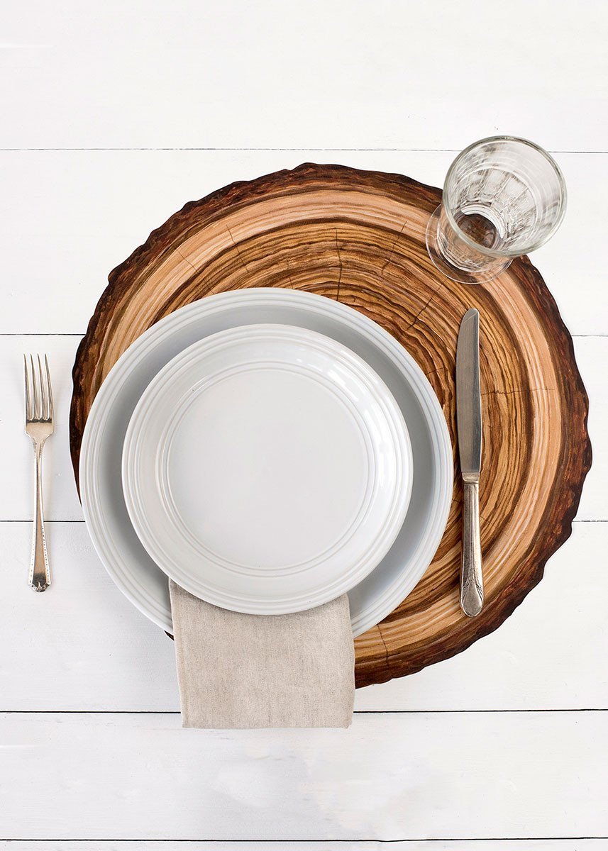 Hester and Cook Die-Cut Wood Slice Paper Placemat Hester /& Cook