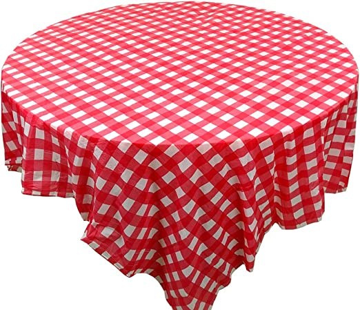 """2 pieces Red and White Gingham table cover tablecloth plastic 84/"""" round"""