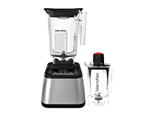 Blendtec Designer 725 WildSide (90 oz) and Twister Jar (37 oz) Bundle Countertop Blender 100-Speeds, Sleek and Slim Stainless Black