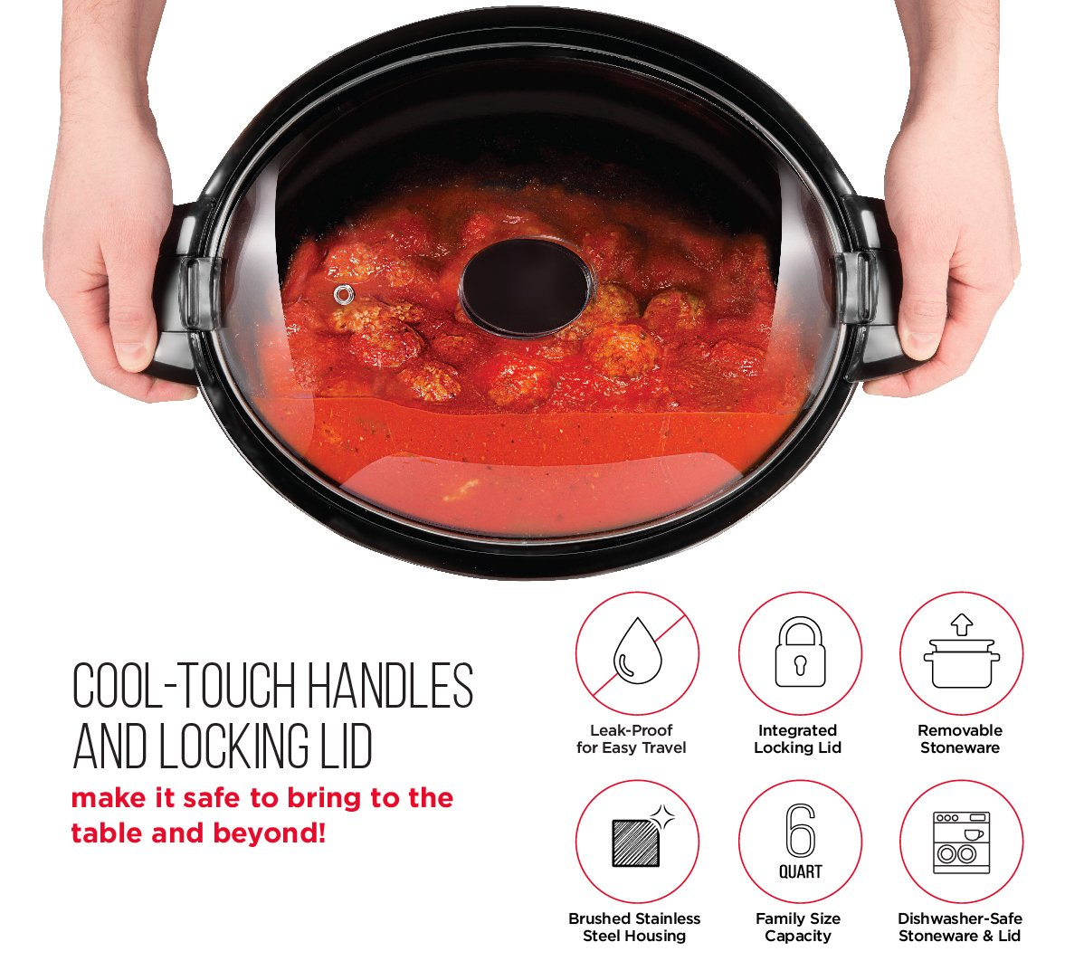 Chefman 6 Quart Locking Lid Slow Cooker with 3 Manual Temperature Control Heat Settings and Removable Stoneware Crock Insert, Cool Touch Handles, Large Family Size, Stainless Steel