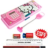 Shifaa Enterprise Multipurpose Magnetic Pencil Box with Calculator & Dual Sharpener & LED Lamp Light for Girls & Boys for School   Big Size Cartoon Printed Pencil Case for Kids (Hello Kitty Cat Pink)