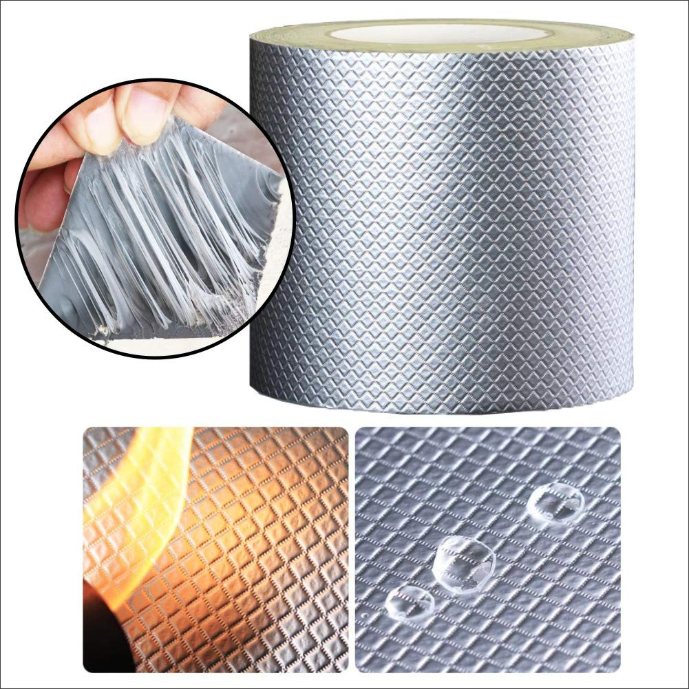 Butyl Tape roof Leak Repair Waterproof Material roof roof roof Water Leakage Strong Anti-Leakage Stick roll self-Adhesive Wall Leakage King (Silver, 1MM Thick 200MM Wide 5m Long (Upgraded Version) by BAOJIASHENG