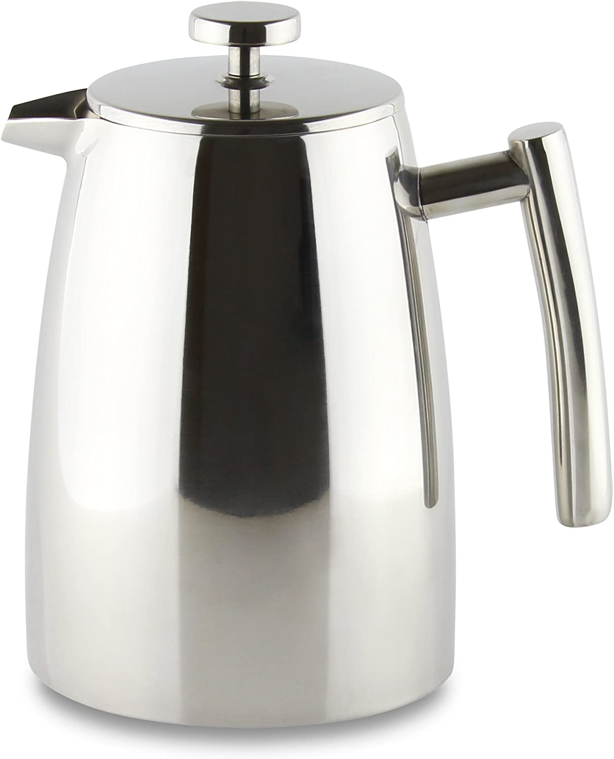 Grunwerg Cafe Ole Double Wall Insulated 3 Cup 13oz Stainless Steel French Coffee Press
