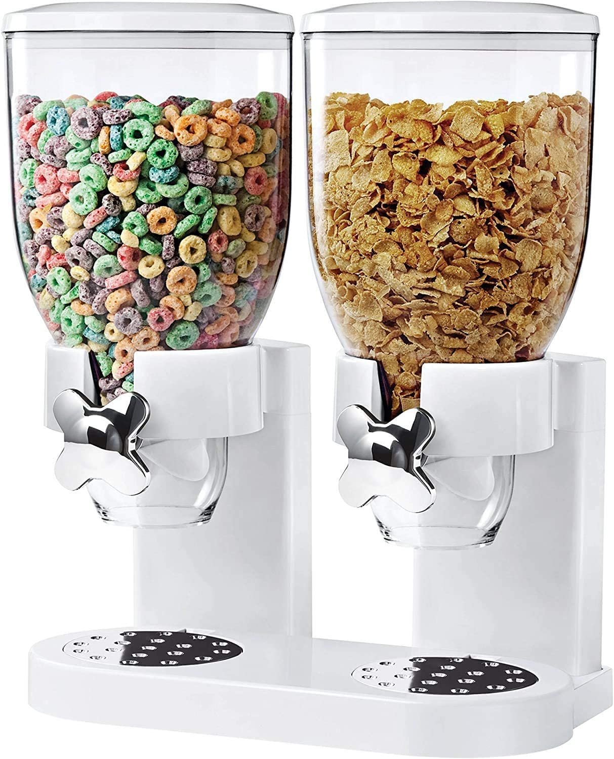 Dry Food and Cereal Dispenser, Double Food Storage Container, Double Chamber Dual Control Household Kitchen Storage Bottles (White-Dual)