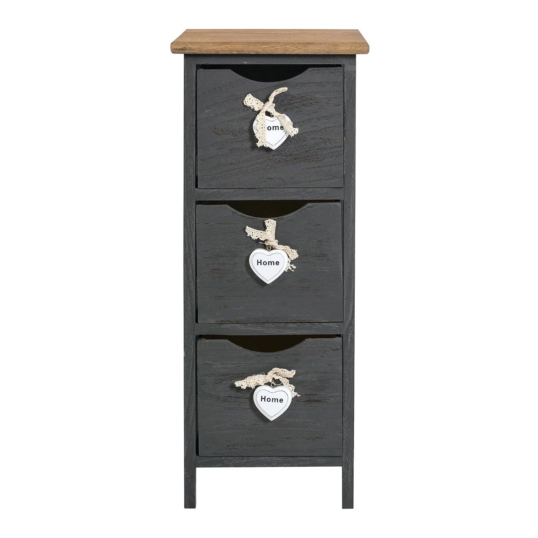 Rebecca Srl Cabinet Bedside Furniture 3 Drawers Grey Wood Shabby