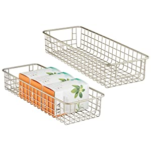 "mDesign Household Wire Drawer Organizer Tray, Storage Organizer Bin Basket with Built-In Handles for Kitchen Cabinets, Drawers, Pantry, Closets, Bedrooms, Bathrooms - 16"" x 6"" x 3"", Pack of 2, Satin"