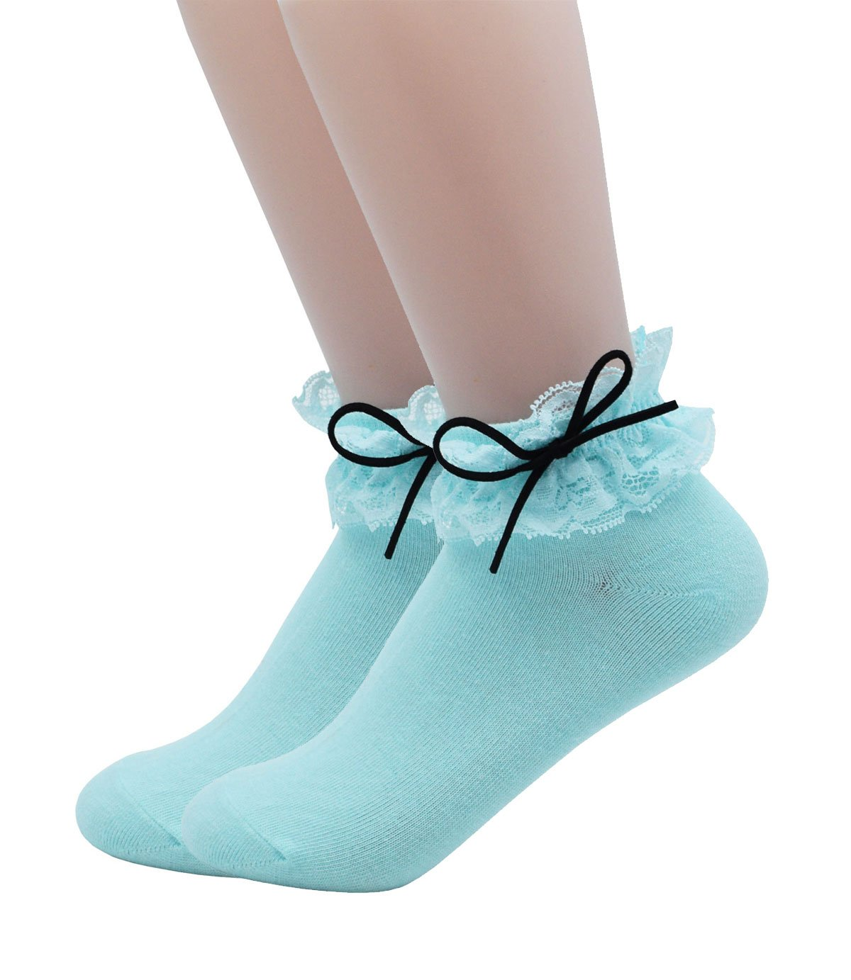 YJLSO Women Lace Ruffle Frilly Cotton Socks Princess Socks Ankle Socks,2 pairs, Style C04 (Blue)