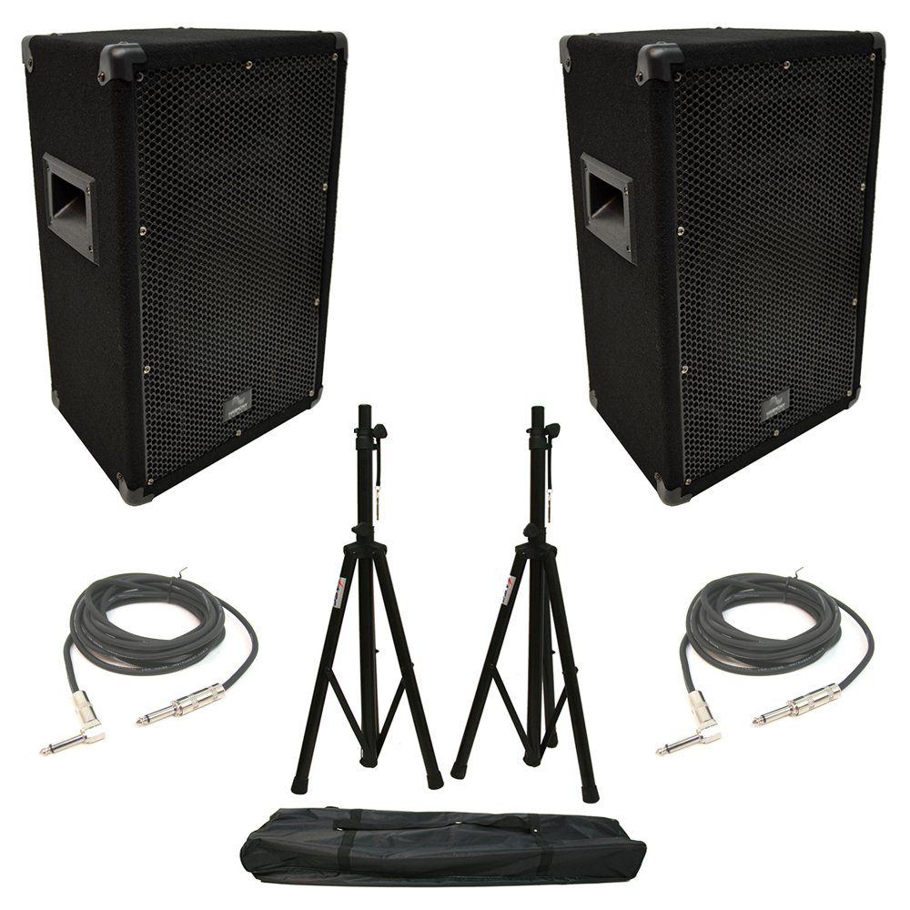 (2) Harmony Audio HA-V10P Pro DJ 10'' Passive 300W PA Speaker 1/4'' Cables Stands