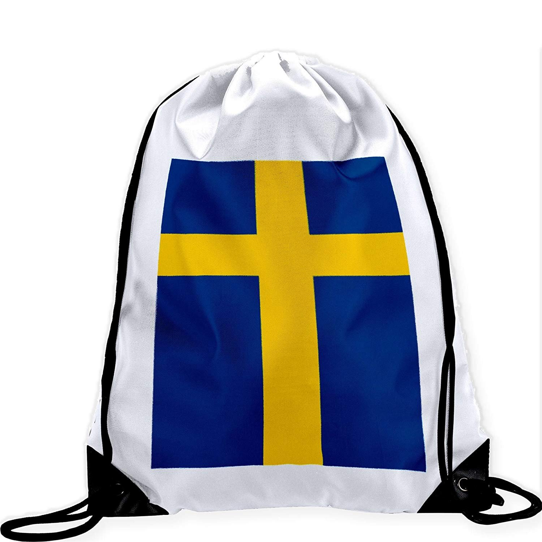 Large Drawstring Bag with Flag of Sweden - Many Designs - Long lasting vibrant image