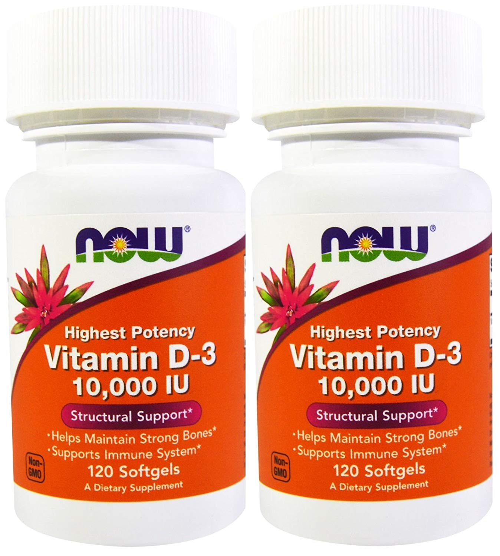 Now Foods Vitamin D-3 10,000 IU 120 Soft Gels (2 Pack)