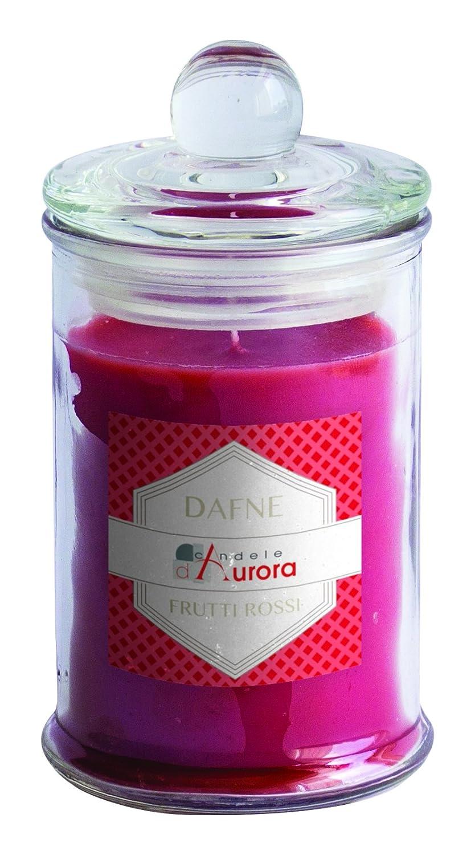Candele D'Aurora Dafne Profumata in Giara con Coperchio E Banda Colorata, Cera, Bacca Rossa, 6.2x6.2x11.8 cm Munus International Srl 876