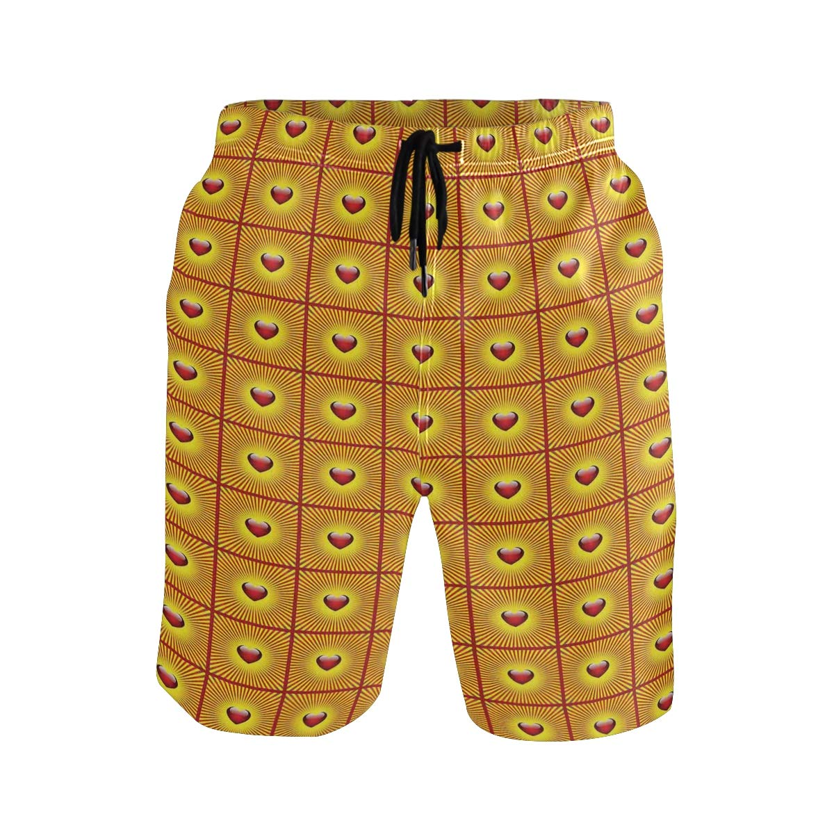 KVMV Love Valentines Day Bumblebee Holding Giant Heart Cartoon Style 5size Beach Shorts