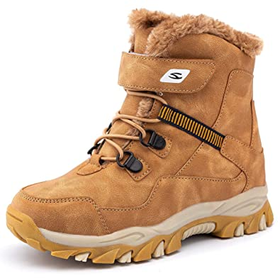 Kids Girls Boys Winter Fur Lined Warm Snow Boots Ankle Waterproof Outdoor Shoes