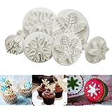 ilauke - 6 unidades Cortadores con expulsor en forma de copo de nieve, ideal para decorar y moldear tus tartas, mazapán, galletas o fondant.