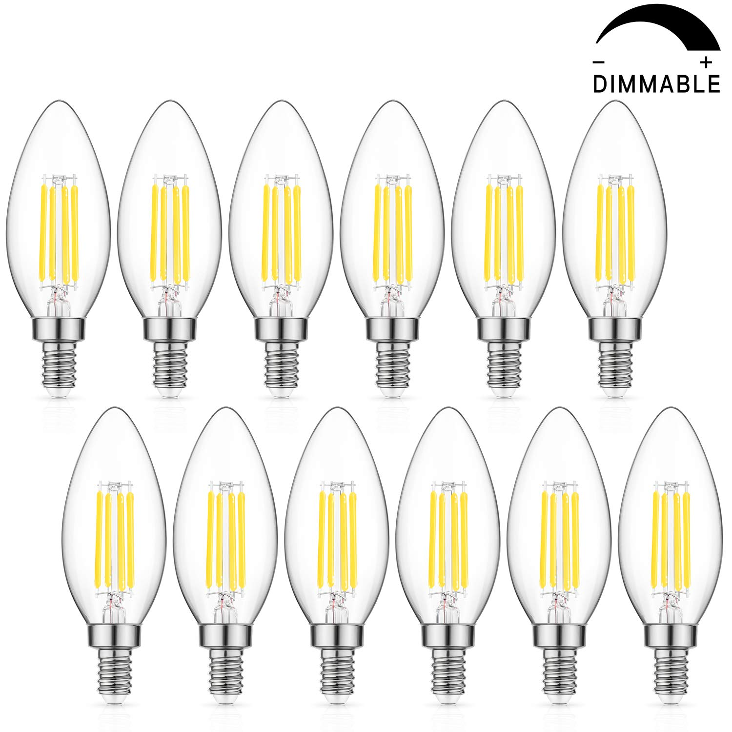 Dimmable LED Candelabra Bulb 60W Equivalent, 5000K Daylight White, 6W Chandelier LED Filament Light Bulbs 600Lumens, E12 Base, B11 Decorative Candle Bulb Pack of 12 by MAXvolador (Image #1)
