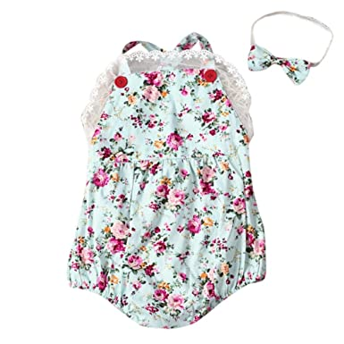 UK Baby Girls Floral Romper Jumpsuit Bodysuit Playsuit Clothes Headband Outfits