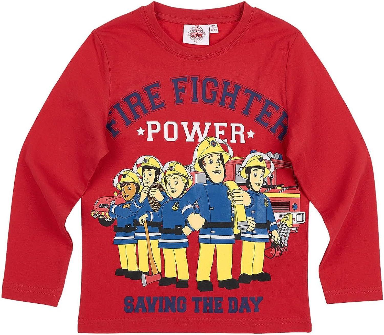 Sam el bombero Chicos Camiseta mangas largas - Rojo - 128: Amazon ...