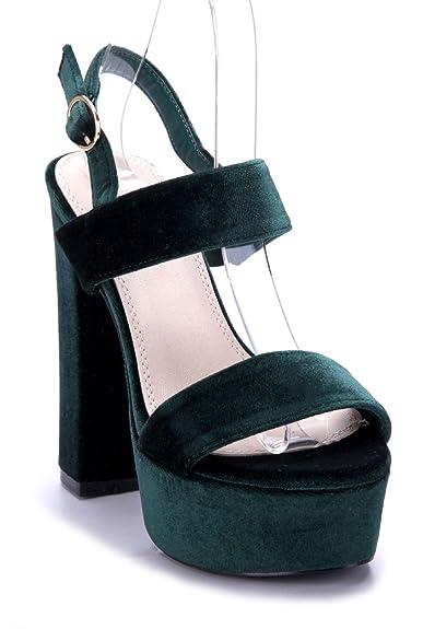 5f4c825219702d Schuhtempel24 Damen Schuhe Plateausandaletten Sandalen Sandaletten grün  Blockabsatz 13 cm High Heels