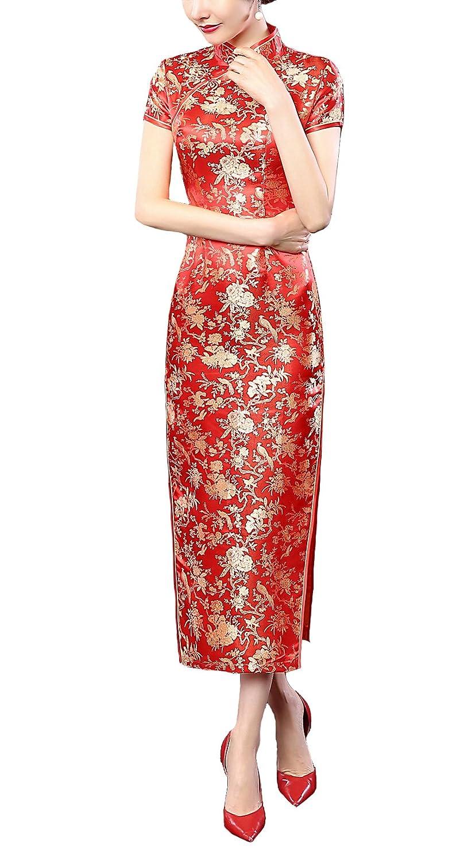 YueLian Damen Elegant Lang Abendkleider Rot Retro Cheongsam Kurzarm ...
