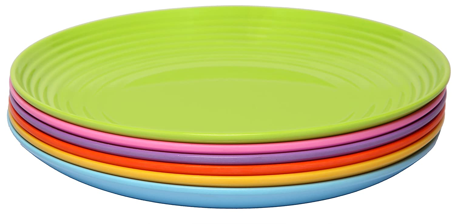 Melange 6-PieceMelamine Dinner Plate Set (Solids Collection ) | Shatter-Proof and Chip-Resistant Melamine Dinner Plates | Color: Multicolor
