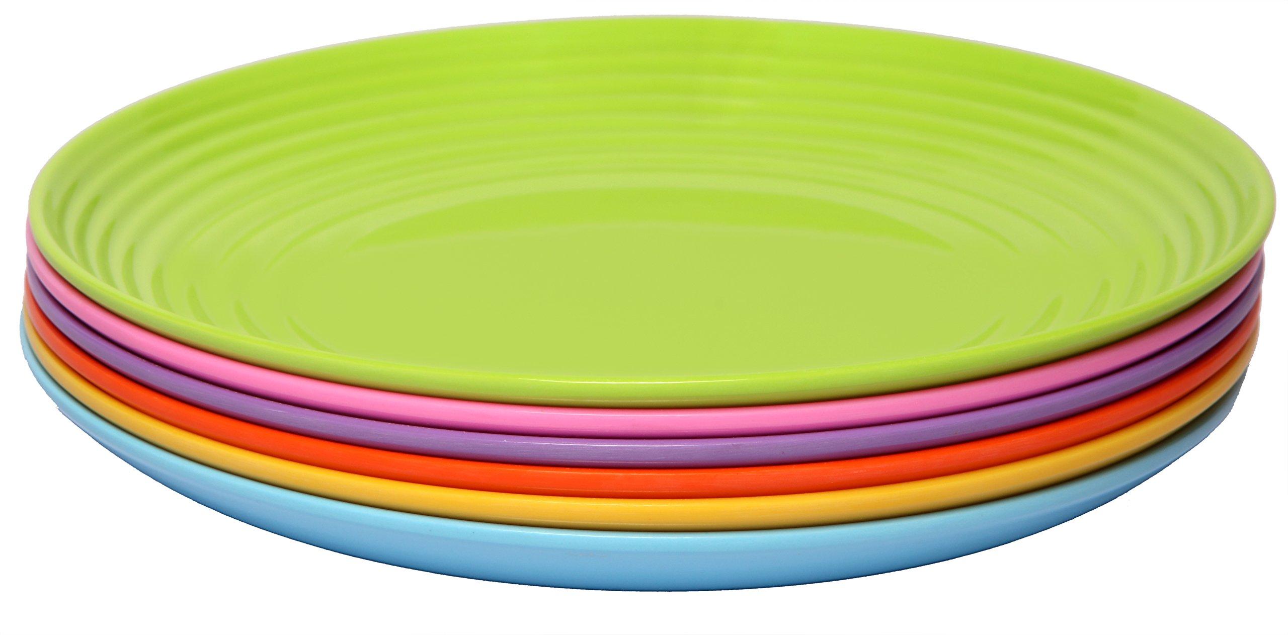 Melange 6-Piece Melamine Dinner Plate Set (Solids Collection) | Shatter-Proof and Chip-Resistant Melamine Dinner Plates | Color Multicolor