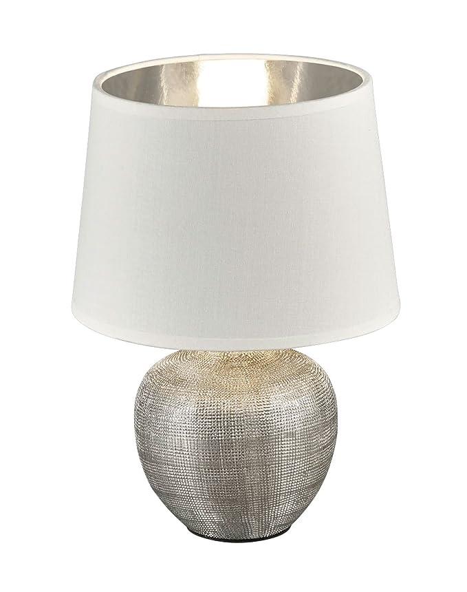 Tischlampe GARDA Lampenschirm Stoff gold Tischleuchte Nachttischlampe Touch