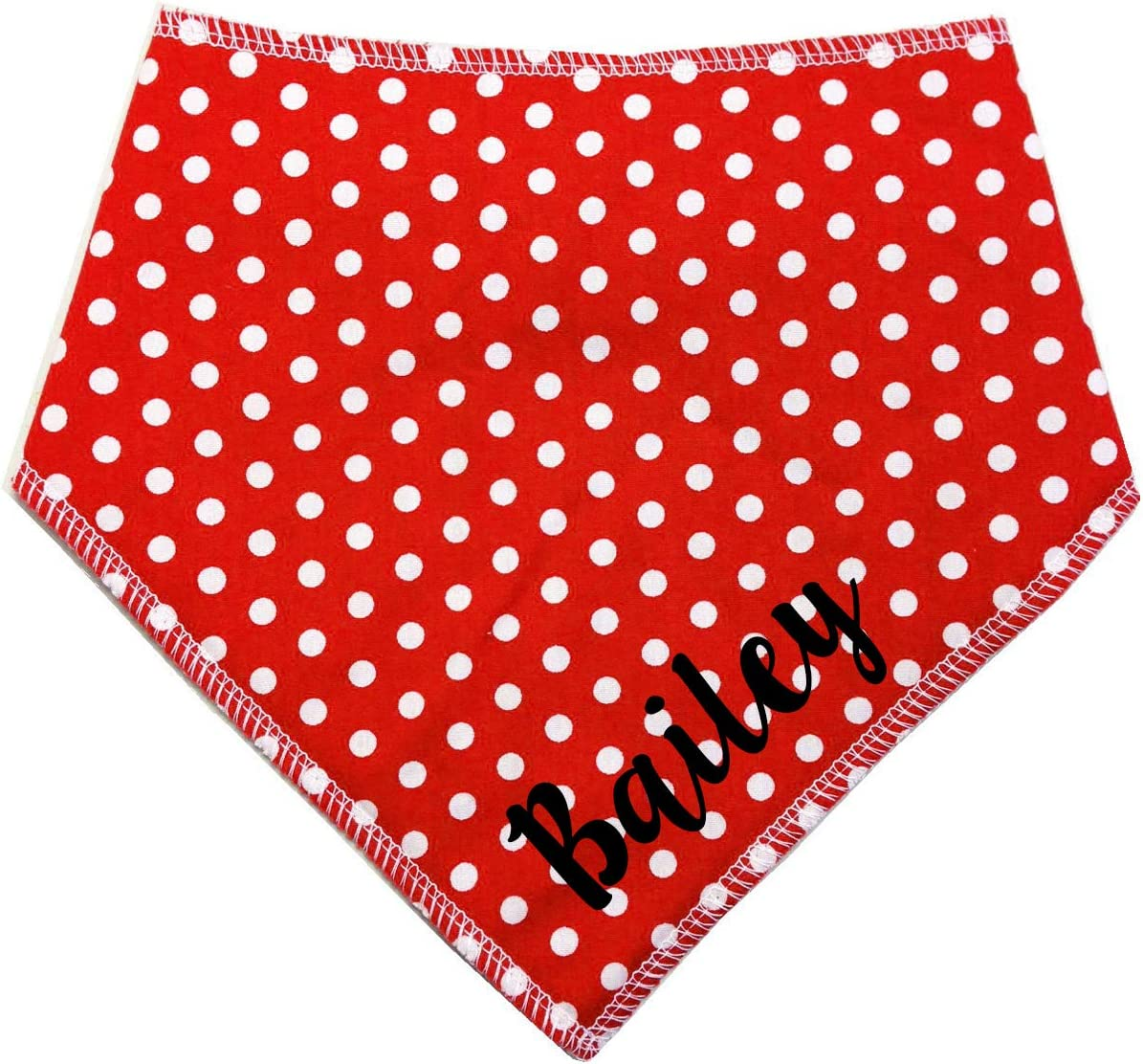 Spoilt Rotten Pets S2 PERSONALISED Red Polka Dot Spotty Vintage Style Boho Fabric Dog Bandana Small Dogs Terriers /& Cockerpoo