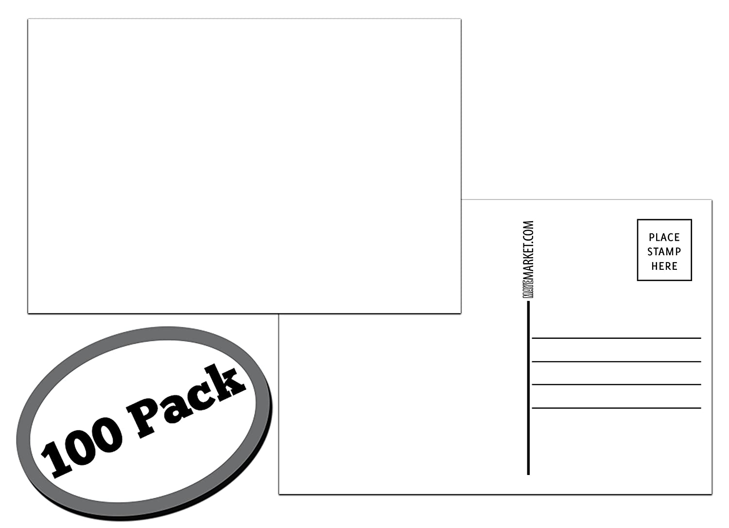 100 Pack of Blank Postcards. Each Post Card in This Patriotic, Bulk Set is 4 x 6, USPS Compliant (mailable), and Made in USA. Mail to Voters to get Votes. Flip Side is Plain White and unused. (Blank) 71rx2iEaHPL