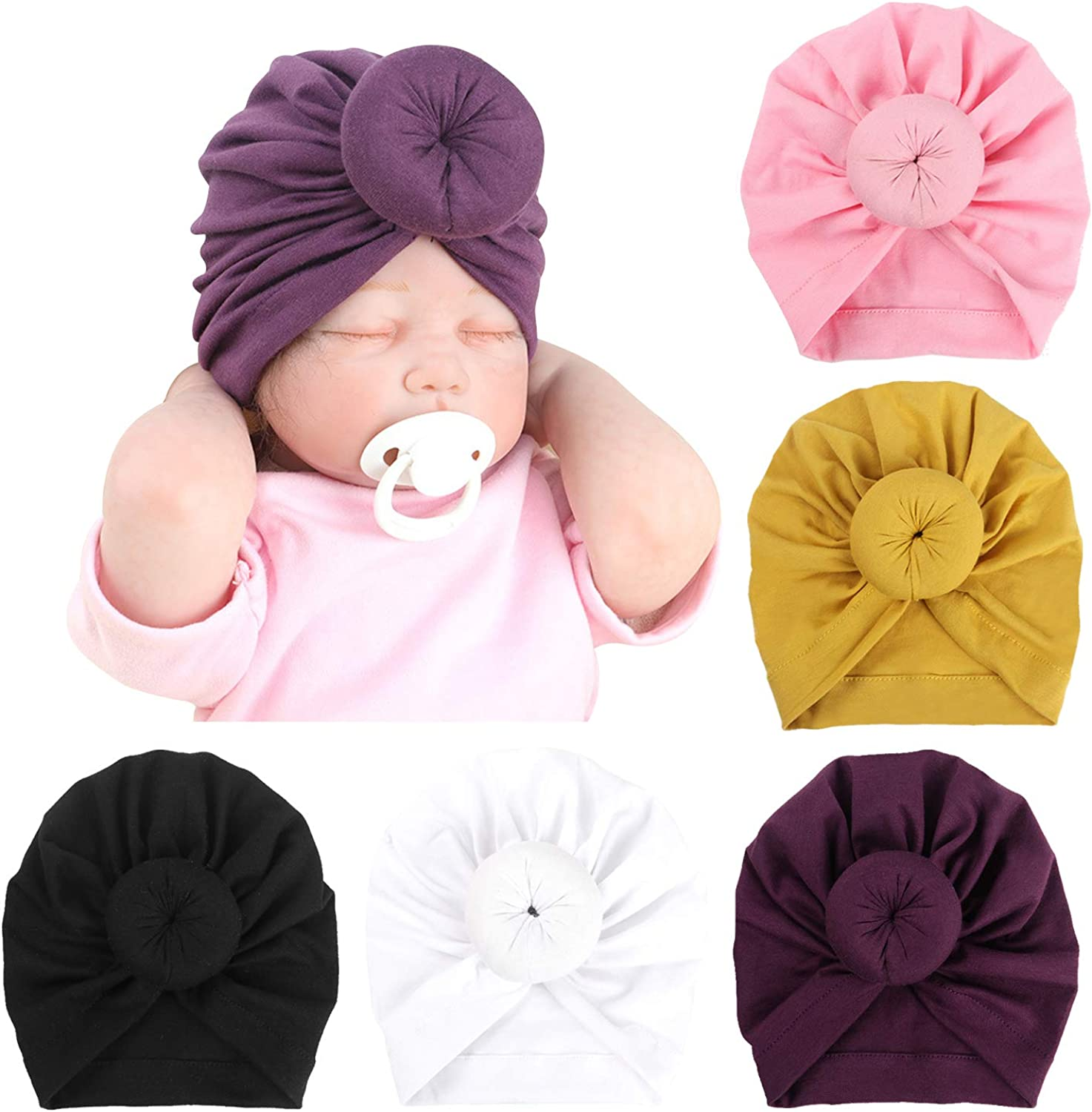 A 6 Pcs Baby Turban Hats Knot Baby Infant Beanie Baby Girl Soft Cute Toddler Cap Hospital Hat N