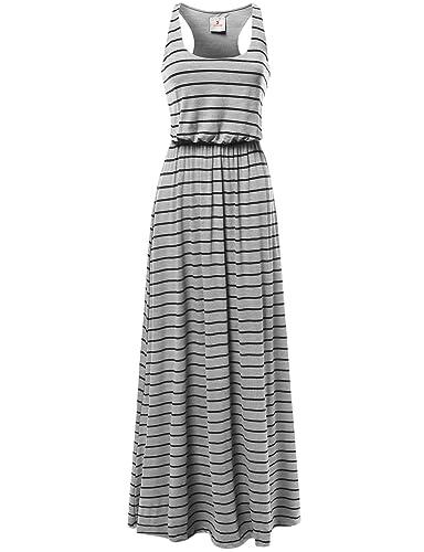 Awesome21 Women's Line Striped Sleeveless Tank Racerback Long Maxi Dresses
