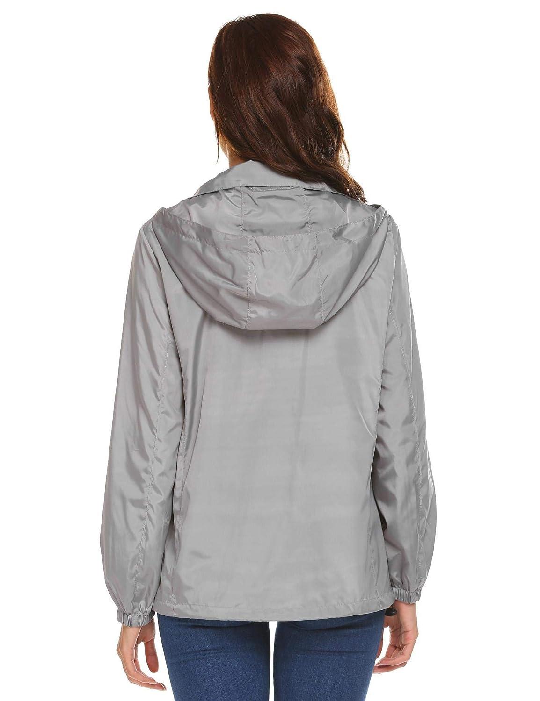 Coorun Femme Veste De Pluie Manteau Imperm/éable Coupe-Vent Zipp/é Multi Style