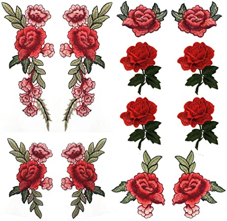 Embroidered Sew On Patches Gummed Red Rose Transfer Fabric Bag Clothes Applique