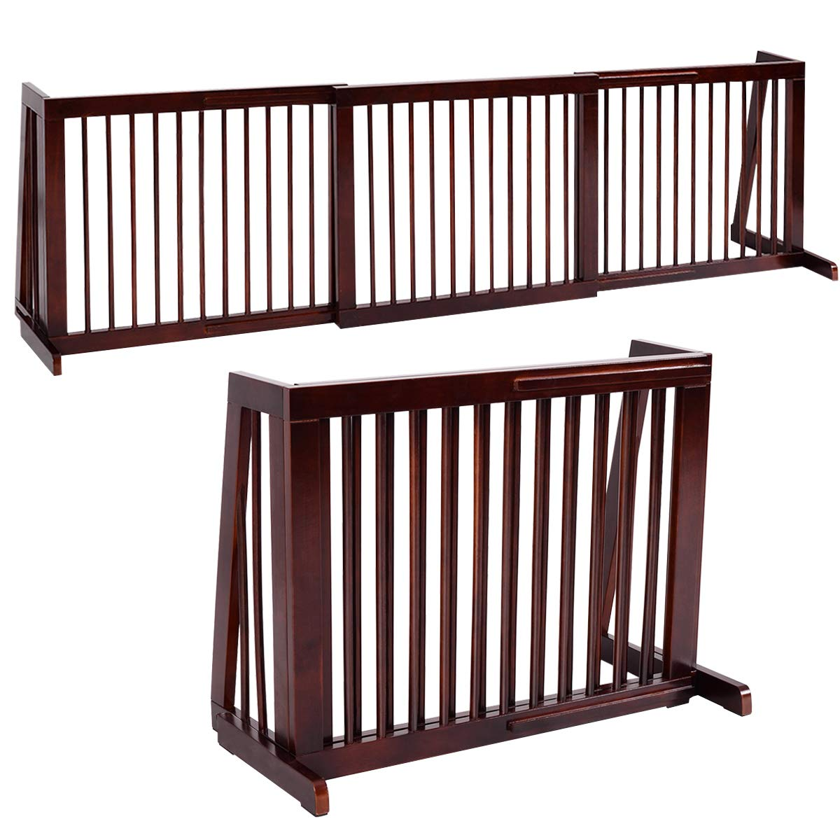 Freestanding Stair Pet Barrier Tall Dog Gate Expanding Fence Outdoor Indoor Wood
