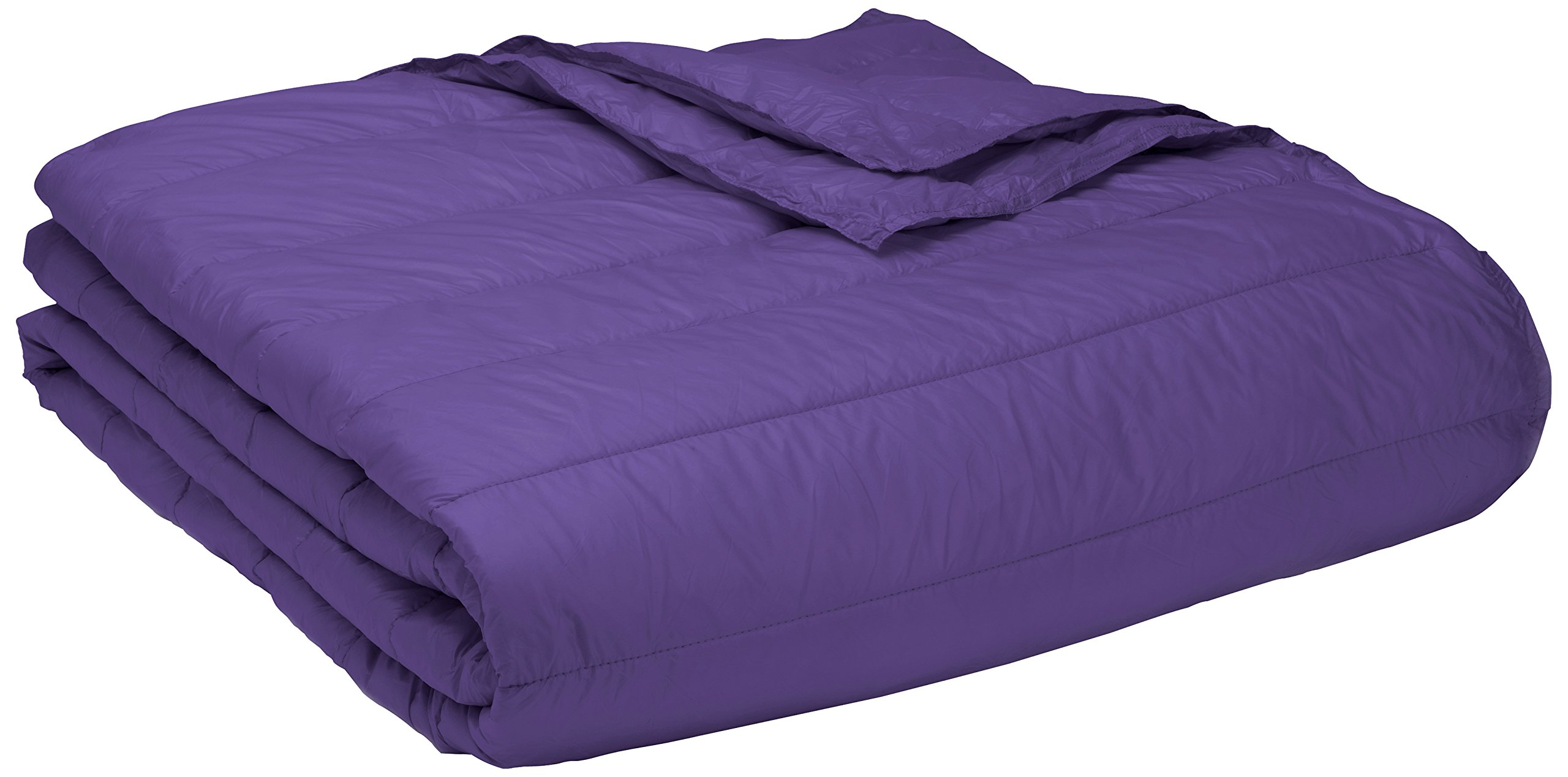 PUFF Down Alternative Indoor/Outdoor Water Resistant Blanket with Extra Strong Nylon Cover, King, Purple