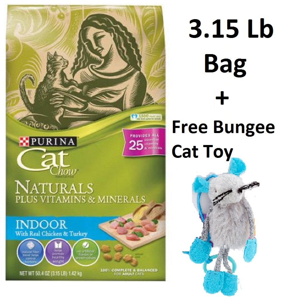 Purina Cat Chow Naturals Plus Vitamins & Minerals - Indoor with Real Chicken & Turkey (5 Bags - 3.15 Lb + Free Toy)