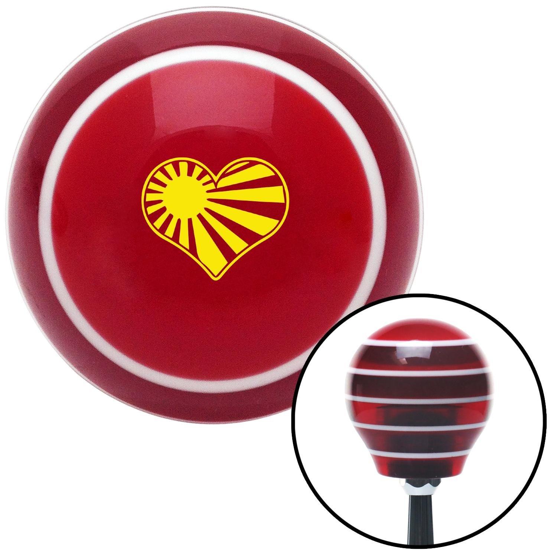 American Shifter 274214 Shift Knob Yellow Rising Sun Heart Red Stripe with M16 x 1.5 Insert
