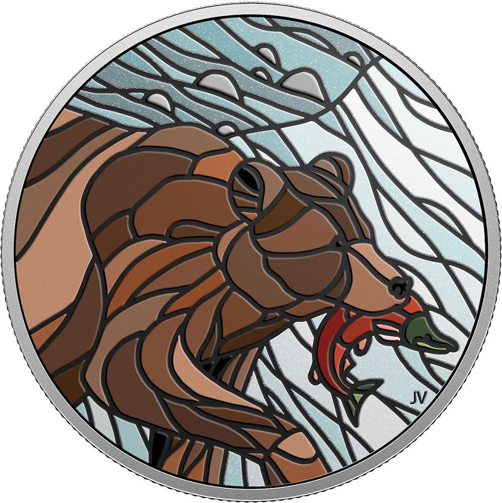 GRIZZLY BEAR Canadian Mosaics 1 Oz Silver Coin 20 Canada 2018 B07FK6W982