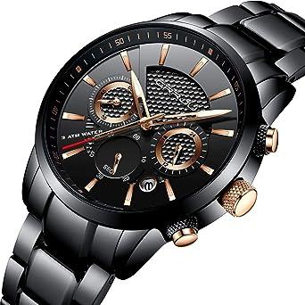 Crrju Brand Men S Business Casual Chronograph Quartz Waterproof Wristwatch Black Stainless Steel Strap