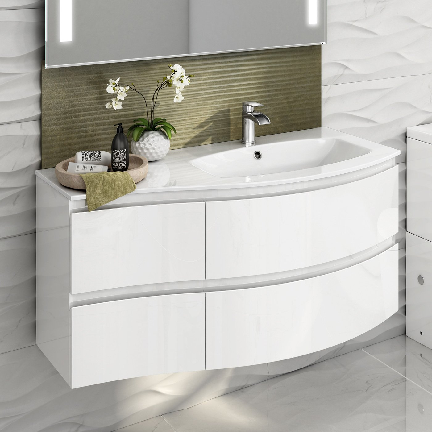 1040 mm White Vanity Sink Unit Ceramic Basin Wall Hung Bathroom