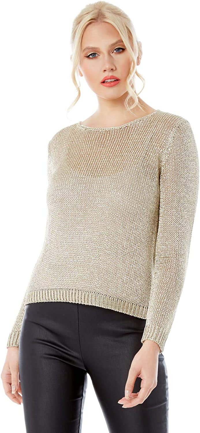 Roman Originals Women Metallic Yarn Jumper Ladies Smart Casual Christmas Glitter Autumn Winter Long Sleeved Evening Going Out Knitted New Years Eve Jumpers
