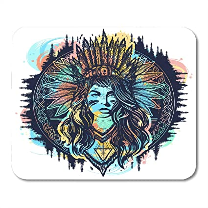 Amazoncom Boszina Mouse Pads Red Forest Native American Woman