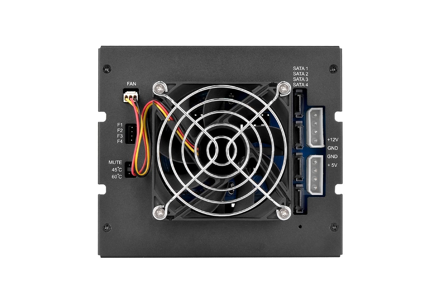 """Max 3504 4-Bay Hot Swap Mobile Rack/Enclosure with 80mm Cooling Fan, 4 X 2.5""""/3.5'' HDDs/SSDs, Sata I/II/III/SAS 6Gbps, 3 X 5.25"""" Bay"""