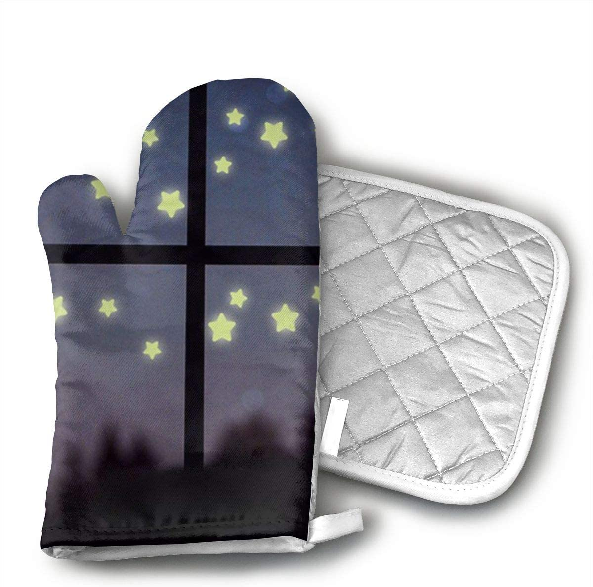 LZMBH Glow in The Dark Luminous Oven Mitts Professional Heat Resistance Kitchen Oven Soft Cotton Gloves for Grilling Cooking Microwave BBQ Baking
