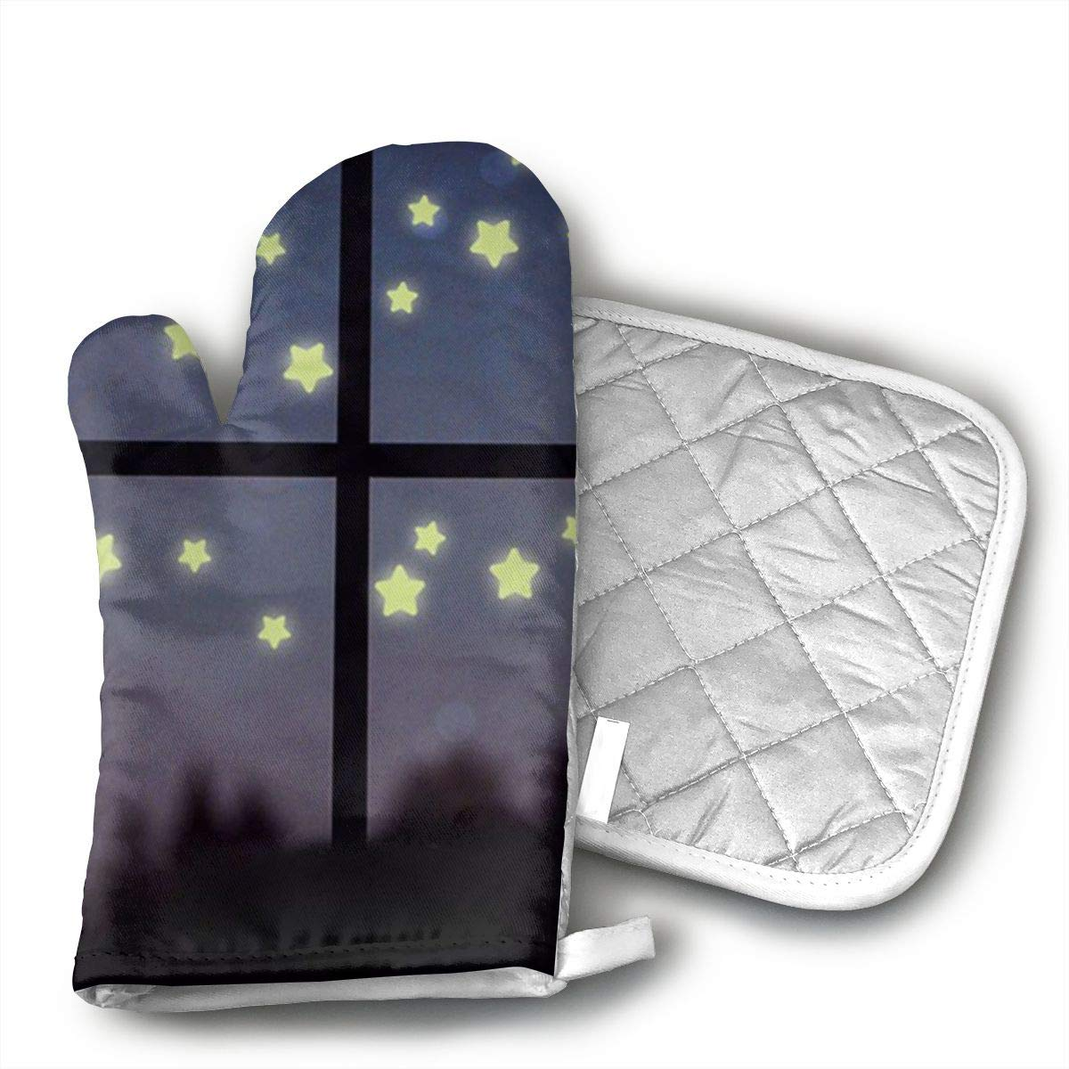 Glow in The Dark Luminous Oven Mitts Heat Resistance, Lining Kitchen Gloves, Heat Resistant