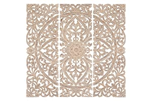 """Deco 79 Wood Plaque S/3 Can Be Placed Anywhere Wall Décor, 48"""" x 48"""", White"""